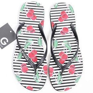 Cherry Cherries Flip Flops Thong Sandals Black Red